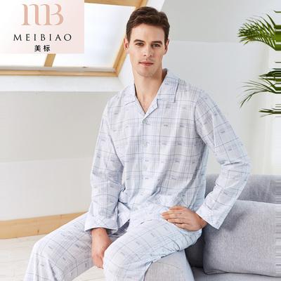 美标春夏纯棉长袖睡衣男士针织全棉薄款简约格子男家居服开衫套装