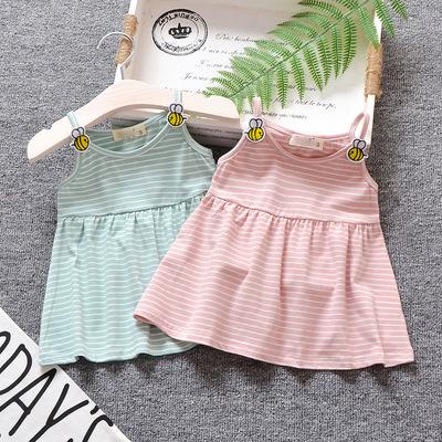 女宝宝吊带公主裙衫0-1岁婴儿衣服6个月女童夏装百搭纯棉上衣裙子