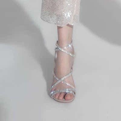 Wardrobes by chen气质时尚款系带水晶高跟鞋 2018夏季新品