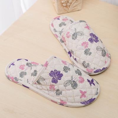 喜多家居秋冬季包头棉拖鞋男女情况室内木地板静音软布底棉麻拖鞋
