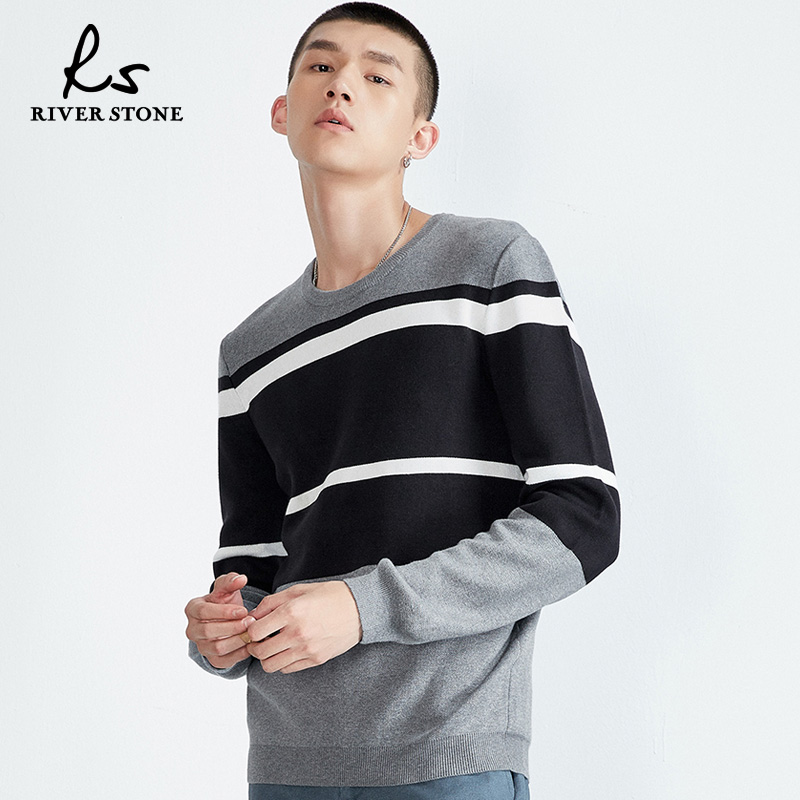 RS男装 2018年冬新款经典撞色复古长袖针织衫毛衣外套男