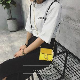 韩国新款迷你圆环链条小方包磨砂时尚零钱包单肩斜挎包可爱亲子包