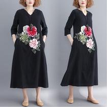 秋装新款女装大码V领高腰修身棉麻连衣裙显瘦遮肉 立体花朵刺绣