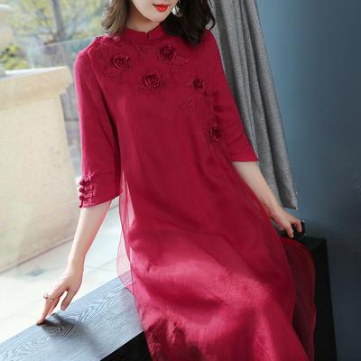 2019新款女装春装过年红色喜庆真丝连衣裙中国风改良旗袍礼服裙子