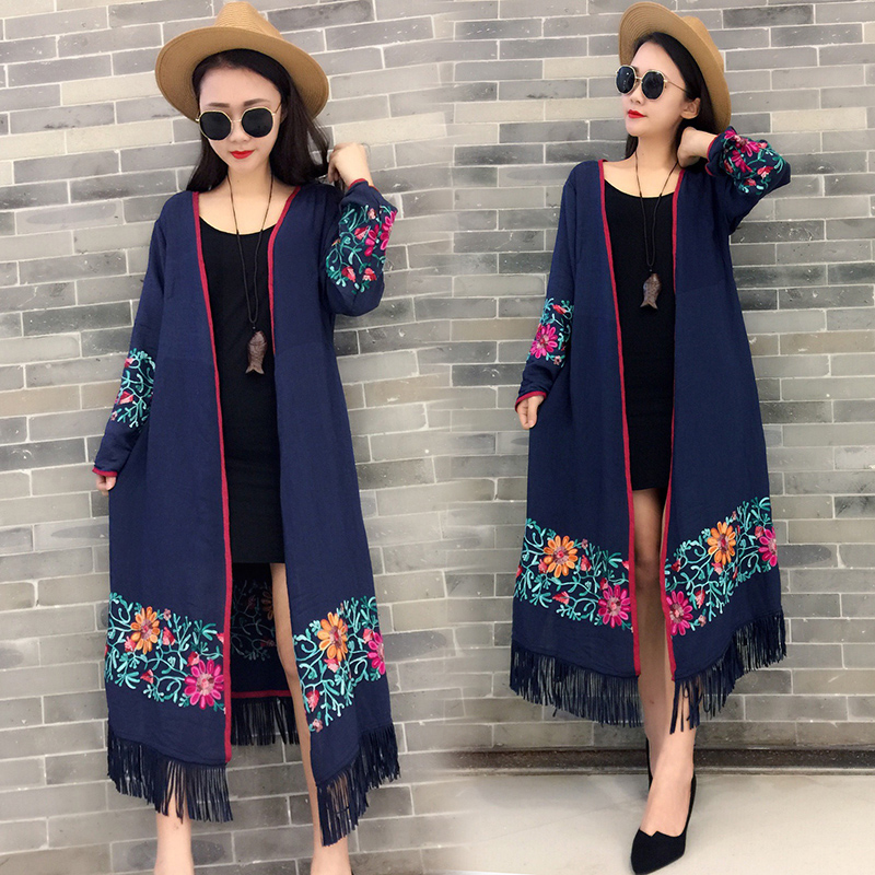 real shot 2018 spring and summer cotton and linen Chinese style literary wild Loose embroidered ethnic style