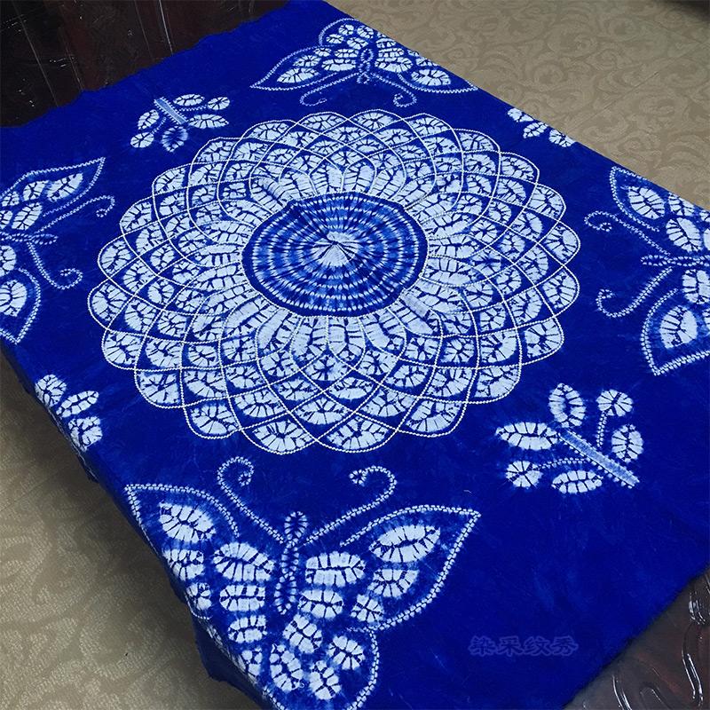 云南大理特产手工扎染布正方布桌布居家布艺民族风120cm*120cm