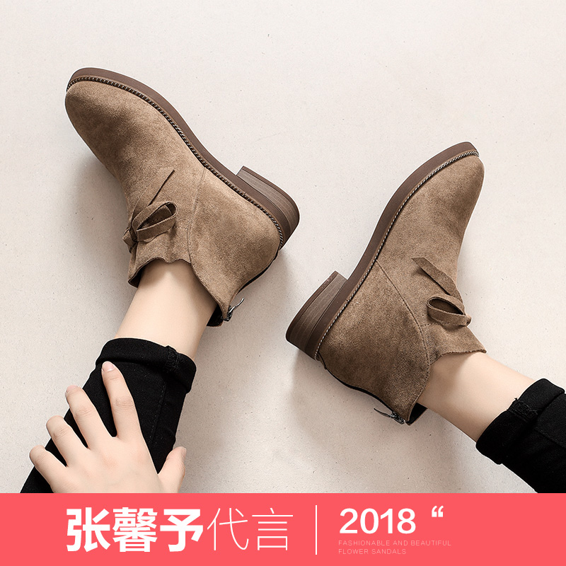 公猴短靴女2018秋冬新款英伦风马丁靴平底韩版百搭蝴蝶结chic复古