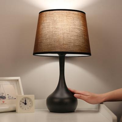 美式台灯卧室床头灯 现代简约感应灯温馨北欧台灯 可调光触摸台灯