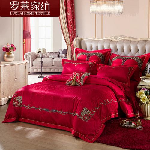 罗莱家纺九件套红色结婚庆提花被套床单双人床床上用品9件套件