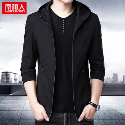 南极人男外套带帽风衣黑色休闲夹克衫上衣秋季薄款中年夹克男装潮
