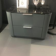 现代简约床头柜玻璃实木储物柜抽屉式床前小柜子卧室床头柜可定制