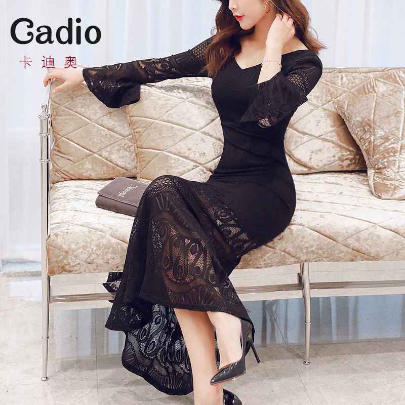 Feminine dress Slim temperament fishtail dress lace party dinner