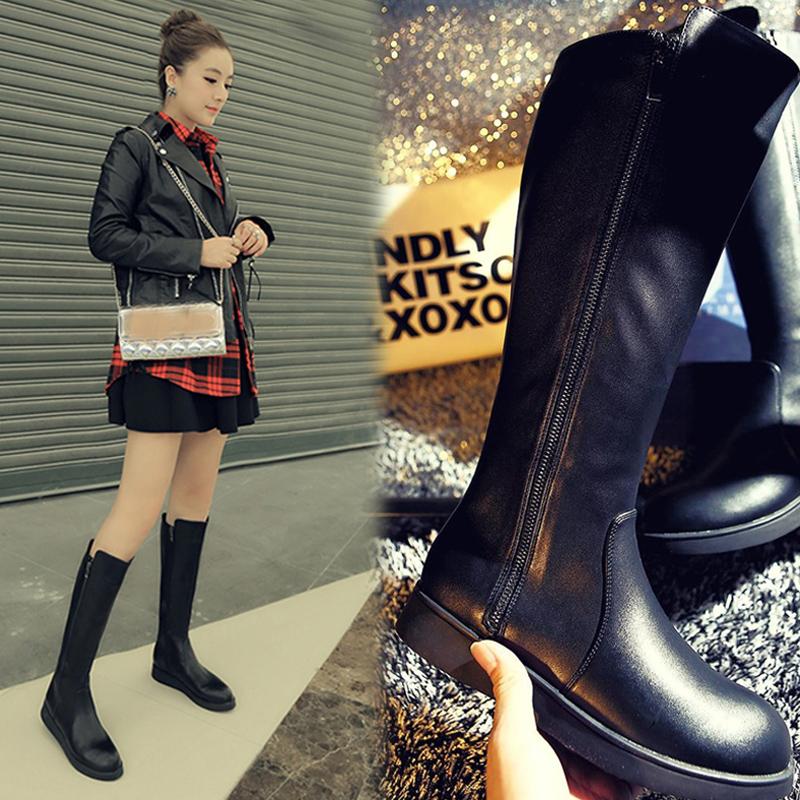 新款平底高筒靴女士冬天鞋子厚底中筒马丁靴骑士长靴子侧拉链加绒