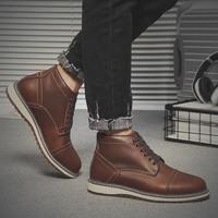 冬季男鞋马丁靴男中帮真皮短靴沙漠靴高帮鞋子男英伦工装靴子潮鞋