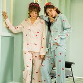 长裤 睡衣女士舒适休闲长袖 家居服套装 时尚 秋冬季新款 仿真丝开衫图片
