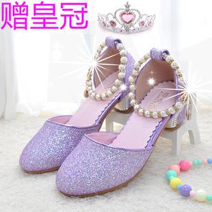紫色高跟鞋儿童送皇冠女童凉鞋公主鞋中大童夏天皮鞋4水晶亮闪闪