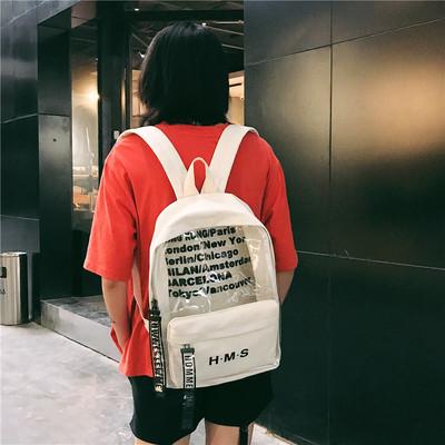 双肩包女2018新款塑料透明果冻韩版高中学生帆布包夏天字母双肩包