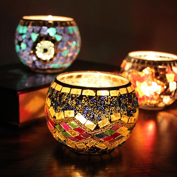 欧式马赛克玻璃烛台