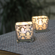 饰摆设 简约欧式花银色方形玻璃小烛台 浪漫烛光晚餐酒吧西餐厅装图片