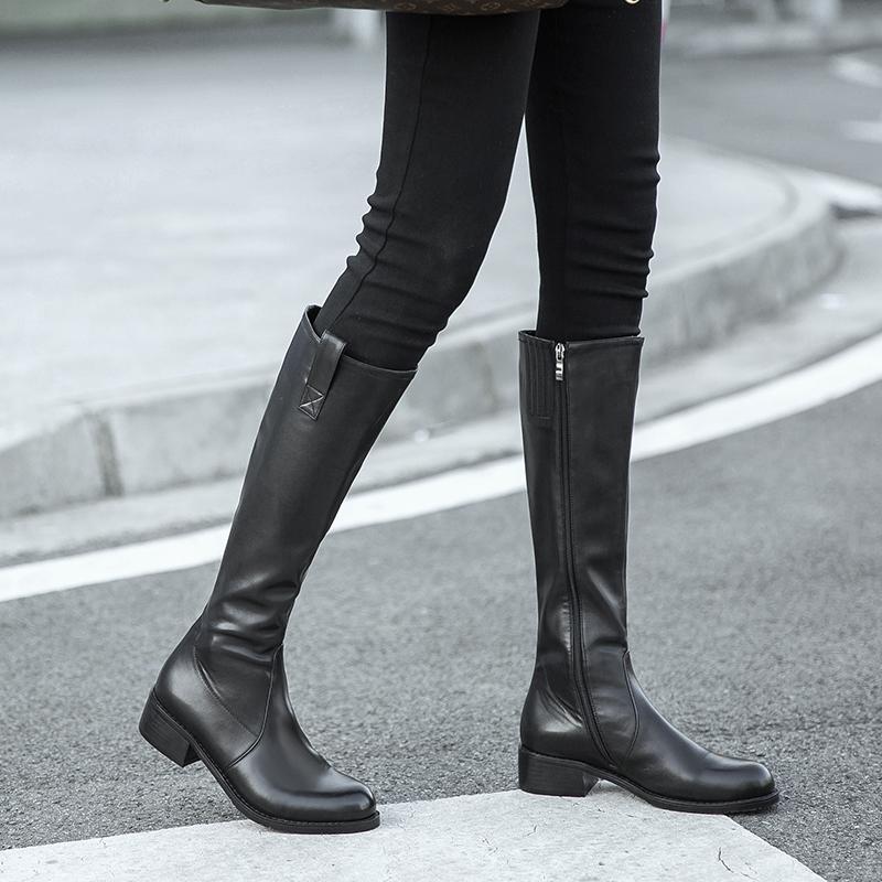 骑士靴女长筒靴2019秋季新款平底真皮粗跟及膝高跟长靴不过膝靴子