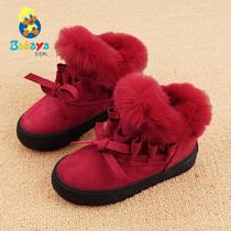 芭芭鸭2018冬季新款儿童冬鞋女童棉鞋公主鞋加绒保暖防滑小短靴潮