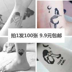 100张原创手绘暗黑防水纹身贴女持久逼真韩国暗黑纹身