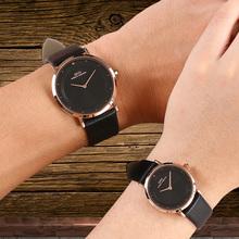 IBSO爱彼思诺超薄手表男女时尚潮流韩版简约情侣手表一对黑色皮带