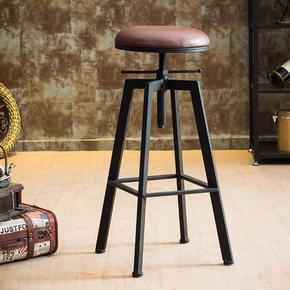 美式实木酒吧椅家用吧台椅创意星巴克高脚椅靠背升降椅复古高凳子