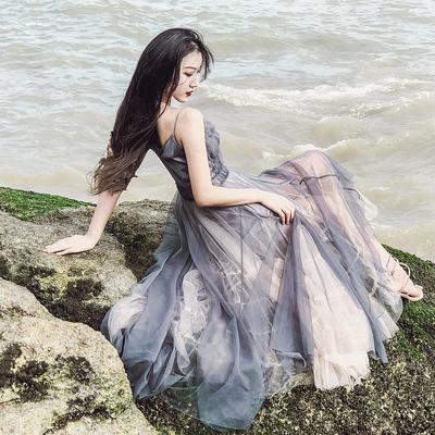 网纱性感吊带连衣裙仙女裙海边度假沙滩仙气及踝长裙女夏学生森系