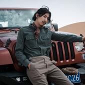 休闲衬衣青年 阿美咔叽长袖 衬衫 修身 SOARIN原创设计复古绿工装