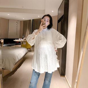 衬衣初秋上衣潮 孕妇装 孕期秋装 白色遮肚衬衫 时尚 宽松娃娃衫 韩版
