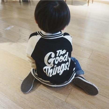 邦仔家儿童针织衫中小童棒球针织衫上衣外套撞色柔软舒适开衫上衣