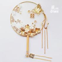 寸折扇男女款随身复古风典丝绸手工水墨礼品中国风烤漆7林扇子