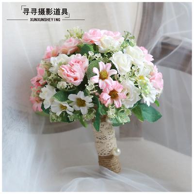 婚纱影楼摄影拍照道具新娘手捧花结婚新款粉红白仿真韩式婚礼花束