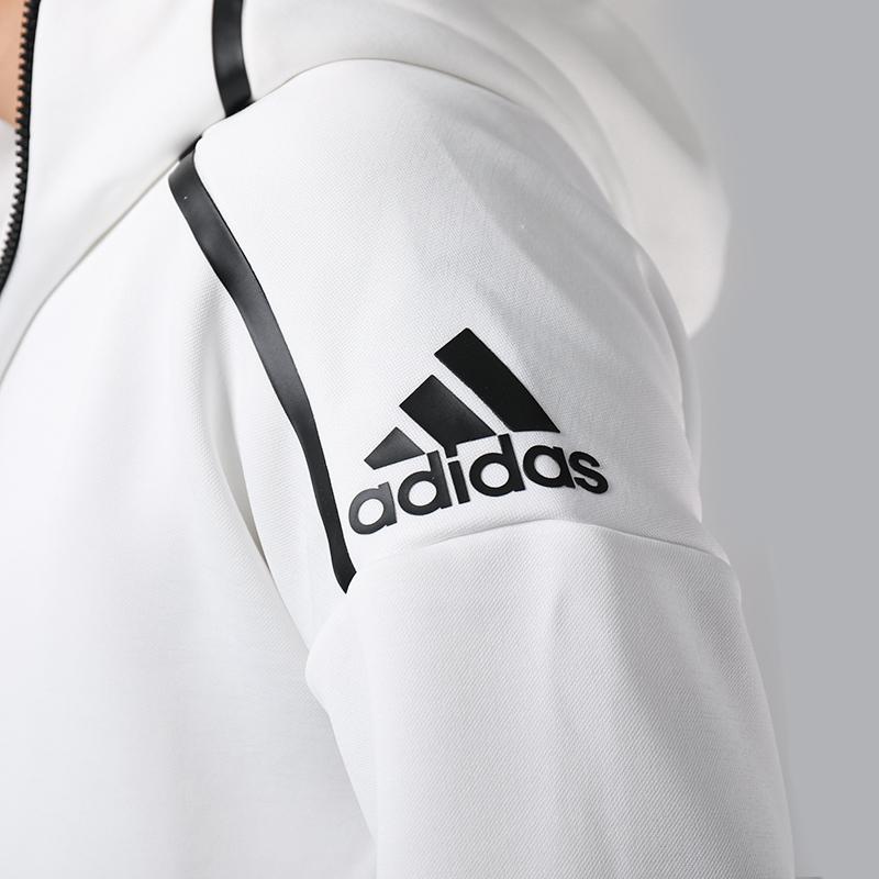 阿迪达斯外套男2018秋季款ZNE系列白色连帽运动服跑步夹克DM5543
