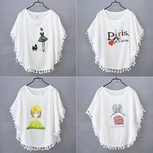 2019夏女短袖蝙蝠衫T恤宽松大码上衣百搭低圆领卡通字母流苏T恤衫