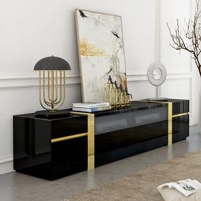 新古典家具后现代简约电视柜茶几组合黑色钢琴烤漆小户型地柜客厅