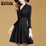丹慕妮尔黑色碎花拼接连衣裙子女秋装2019年新款高端收腰显瘦气质