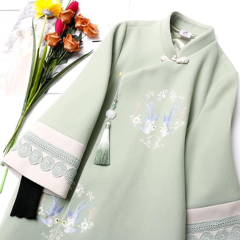 汉服女唐装中国风毛呢女装古装改良日常装古风旗袍外套大衣冬复古