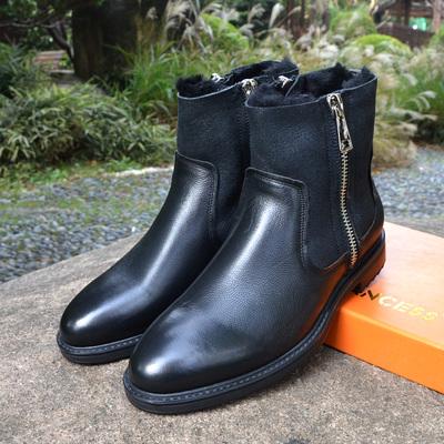 冬季短靴子潮流男靴英伦马丁靴真皮男士军靴加绒羊毛保暖高帮皮靴