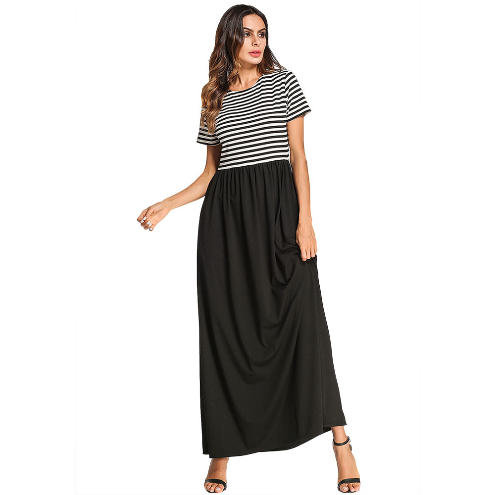 170 tall girls wear clothes striped stitching and long skirts waist