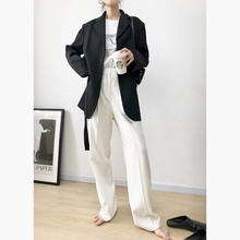 SOHO 2019 Spring New High-waist Suit Pants Women Floor Drop Feeling Chic Leisure Loose Slim Broad-legged Pants