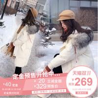 棉服女中长款2018冬装新款韩版宽松大毛领加厚棉袄外套小个子棉衣