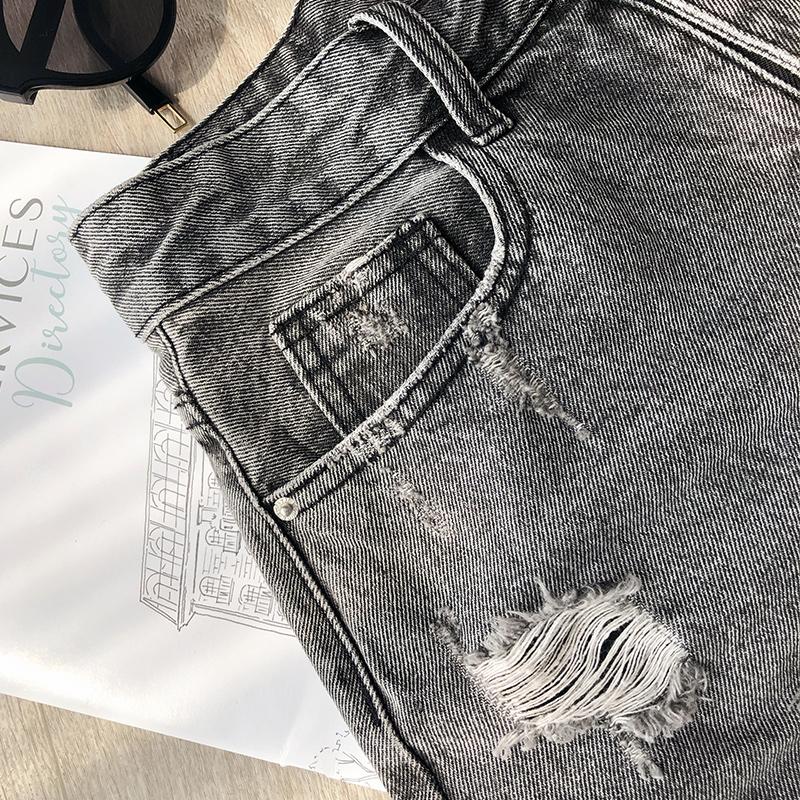 谜秀牛仔短裤2019夏装新款韩版高腰chic港味休闲裤破洞热裤女装潮