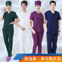 弹力棉洗手衣医生护士服涮手衣分体套装短袖男女隔离衣ICU工作服