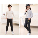Children's Down Trousers in Winter, Boys and Girls'Down Cotton Trousers for Middle and Old Children and Warm High-waist Trousers