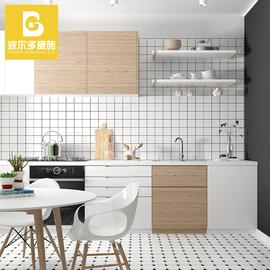 北欧面包砖白砖黑线格子亚光小方格厨房卫生间瓷砖厨卫浴室墙砖图片