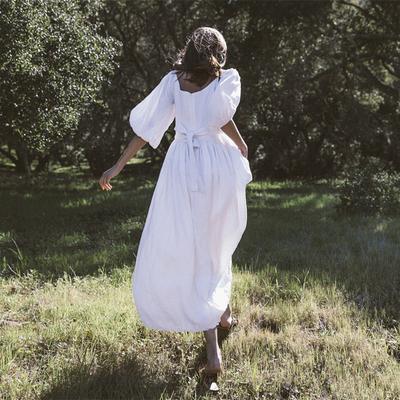 法式小众很仙高腰白色长裙收腰显瘦亚麻灯笼袖智熏桔梗度假连衣裙