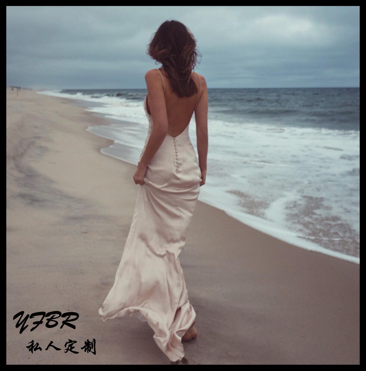 欧美性感深V领吊带露背拖地长裙旅拍连衣裙海边度假沙滩裙轻婚纱