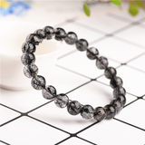 Natural Crystal Full Hair Black Crystal Bracelet Fashion Ice Black Wafer Bead Single Circle Bracelet 8mm Female